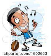 Clipart Of A Black Male Football Player Doing A Happy Dance Royalty Free Vector Illustration