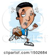 Clipart Of A Tired Running Black Male Football Player Royalty Free Vector Illustration