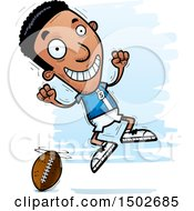Clipart Of A Jumping Black Male Football Player Royalty Free Vector Illustration