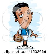Clipart Of A Sad Black Male Football Player Royalty Free Vector Illustration