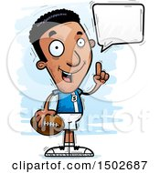 Clipart Of A Talking Black Male Football Player Royalty Free Vector Illustration