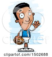 Clipart Of A Waving Black Male Football Player Royalty Free Vector Illustration