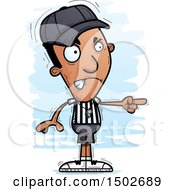 Clipart Of A Mad Pointing Black Male Referee Royalty Free Vector Illustration