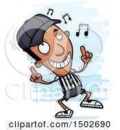 Clipart Of A Black Male Referee Doing A Happy Dance Royalty Free Vector Illustration