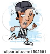 Clipart Of A Tired Running Black Male Referee Royalty Free Vector Illustration