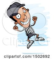 Clipart Of A Jumping Black Male Referee Royalty Free Vector Illustration
