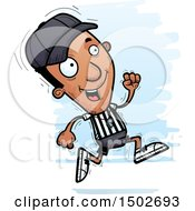 Clipart Of A Running Black Male Referee Royalty Free Vector Illustration