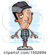 Clipart Of A Sad Black Male Referee Royalty Free Vector Illustration