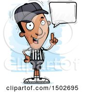 Clipart Of A Talking Black Male Referee Royalty Free Vector Illustration