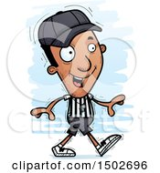 Clipart Of A Walking Black Male Referee Royalty Free Vector Illustration