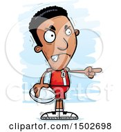 Clipart Of A Mad Pointing Black Male Rugby Player Royalty Free Vector Illustration