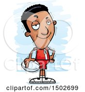 Clipart Of A Confident Black Male Rugby Player Royalty Free Vector Illustration