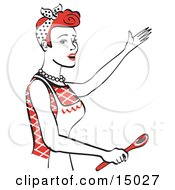 Happy Red Haired Housewife Or Maid Woman In An Apron Singing And Using A Spoon While Baking In The Kitchen Clipart Illustration by Andy Nortnik
