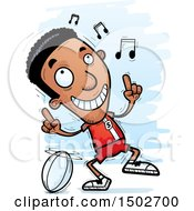 Clipart Of A Black Male Rugby Player Doing A Happy Dance Royalty Free Vector Illustration
