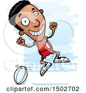 Clipart Of A Jumping Black Male Rugby Player Royalty Free Vector Illustration