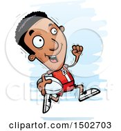 Clipart Of A Running Black Male Rugby Player Royalty Free Vector Illustration