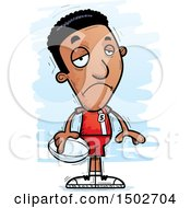 Clipart Of A Sad Black Male Rugby Player Royalty Free Vector Illustration