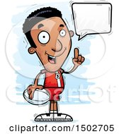 Clipart Of A Talking Black Male Rugby Player Royalty Free Vector Illustration