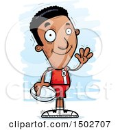 Clipart Of A Waving Black Male Rugby Player Royalty Free Vector Illustration