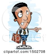 Clipart Of A Mad Pointing Black Male College Student Royalty Free Vector Illustration