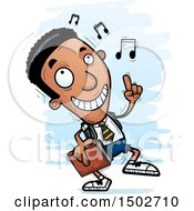 Clipart Of A Black Male College Student Doing A Happy Dance Royalty Free Vector Illustration