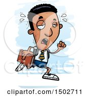Clipart Of A Tired Running Black Male College Student Royalty Free Vector Illustration
