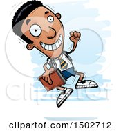 Clipart Of A Jumping Black Male College Student Royalty Free Vector Illustration