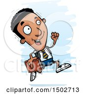 Clipart Of A Running Black Male College Student Royalty Free Vector Illustration