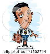 Clipart Of A Sad Black Male College Student Royalty Free Vector Illustration