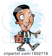 Clipart Of A Walking Black Male College Student Royalty Free Vector Illustration