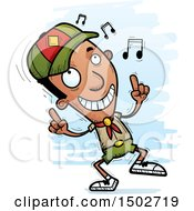 Clipart Of A Black Male Scout Doing A Happy Dance Royalty Free Vector Illustration
