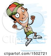 Clipart Of A Jumping Black Male Scout Royalty Free Vector Illustration
