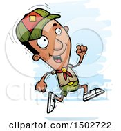 Clipart Of A Running Black Male Scout Royalty Free Vector Illustration