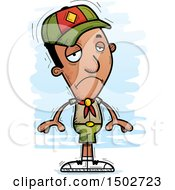 Clipart Of A Sad Black Male Scout Royalty Free Vector Illustration