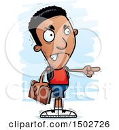 Clipart Of A Mad Pointing Black Male Community College Student Royalty Free Vector Illustration