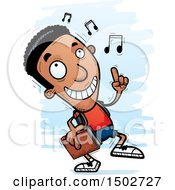 Clipart Of A Black Male Community College Student Doing A Happy Dance Royalty Free Vector Illustration