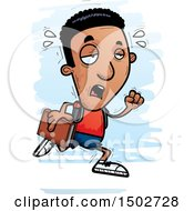 Clipart Of A Tired Running Black Male Community College Student Royalty Free Vector Illustration