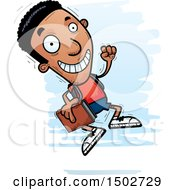 Clipart Of A Jumping Black Male Community College Student Royalty Free Vector Illustration