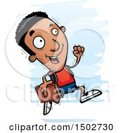Clipart Of A Running Black Male Community College Student Royalty Free Vector Illustration