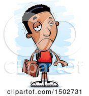 Clipart Of A Sad Black Male Community College Student Royalty Free Vector Illustration
