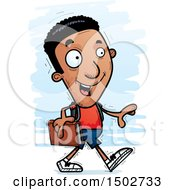 Clipart Of A Walking Black Male Community College Student Royalty Free Vector Illustration