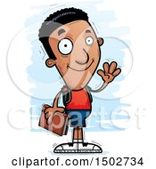 Clipart Of A Waving Black Male Community College Student Royalty Free Vector Illustration