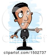 Clipart Of A Mad Pointing African American Man In A Tuxedo Royalty Free Vector Illustration