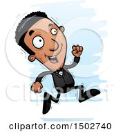 Clipart Of A Running African American Man In A Tuxedo Royalty Free Vector Illustration