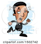 Clipart Of A Tired Running African American Man In A Tuxedo Royalty Free Vector Illustration