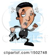 Clipart Of A Tired Running African American Male Spy Or Secret Service Agent Royalty Free Vector Illustration