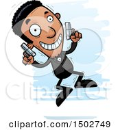 Clipart Of A Jumping African American Male Spy Or Secret Service Agent Royalty Free Vector Illustration by Cory Thoman