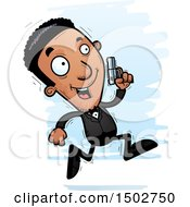 Clipart Of A Running African American Male Spy Or Secret Service Agent Royalty Free Vector Illustration by Cory Thoman