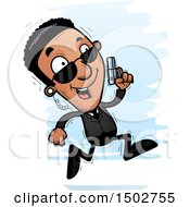 Clipart Of A Running African American Male Secret Service Agent Royalty Free Vector Illustration by Cory Thoman