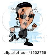 Clipart Of A Tired Running African American Male Secret Service Agent Royalty Free Vector Illustration by Cory Thoman